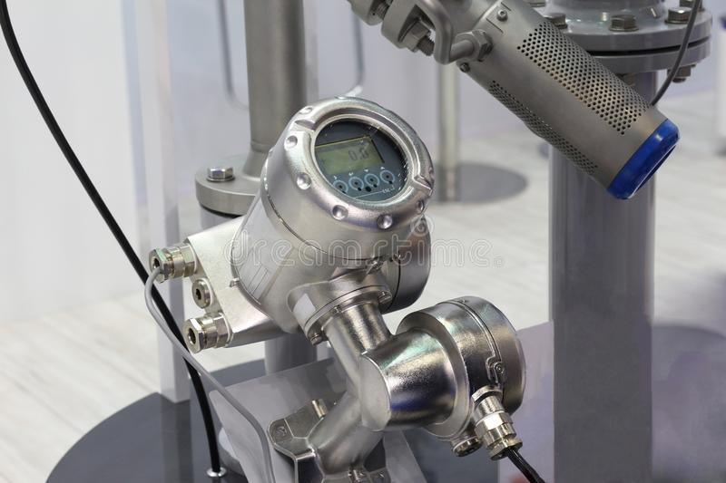 Mortise ultrasonic flow meter to measure the flow of liquids and heat metering royalty free stock photography