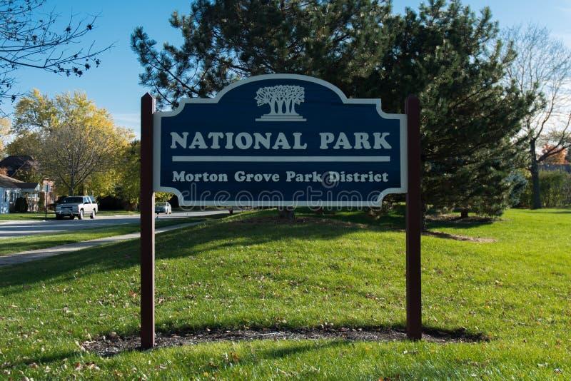Morton Grove National Plark-Zeichen stockbilder