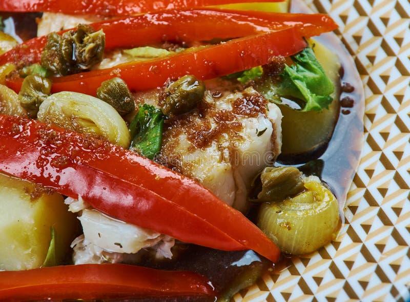 Morue cuite au four balsamique image stock