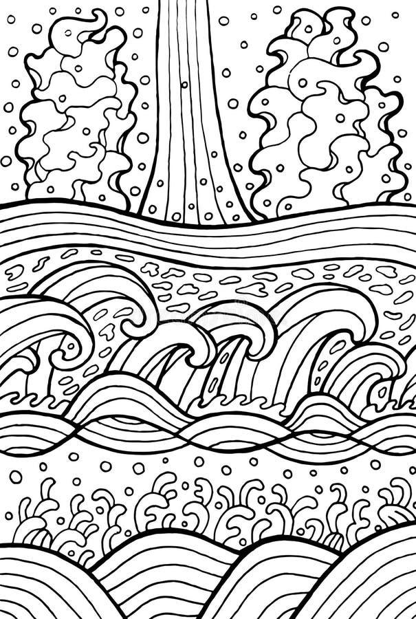Morza i rzeki fale Doodle grafika dla barwić strony również zwrócić corel ilustracji wektora ilustracja wektor