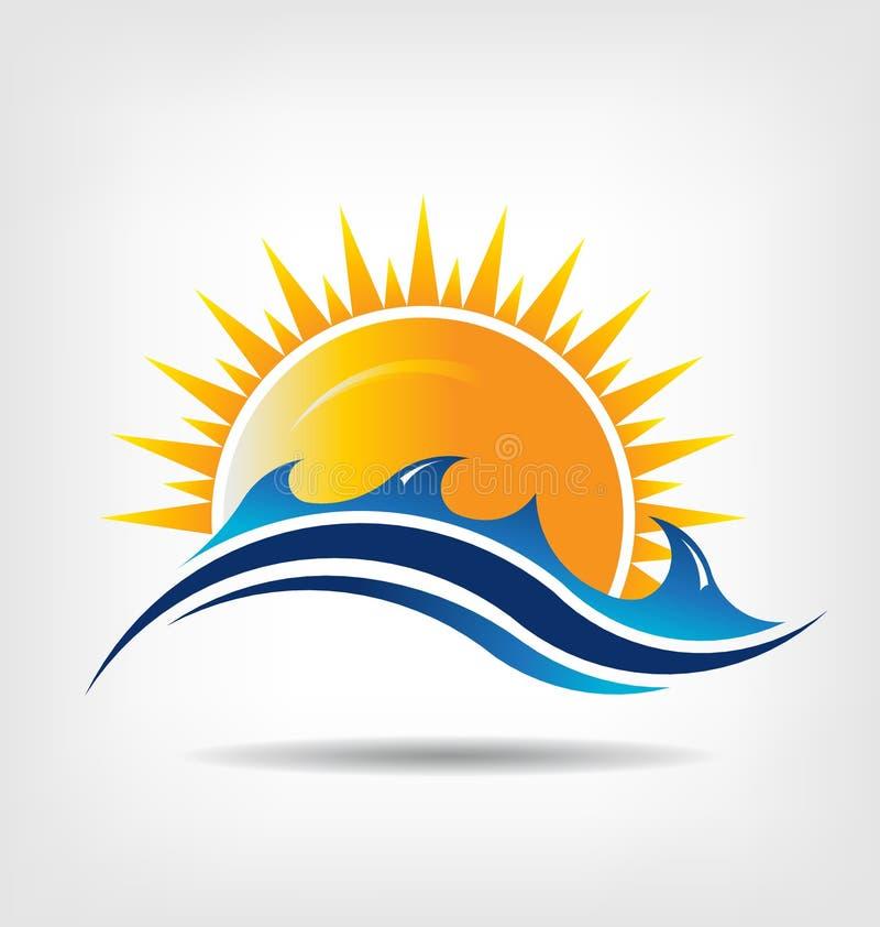 Morza i słońca sezon. Wektorowy logo. Abstrakcja su
