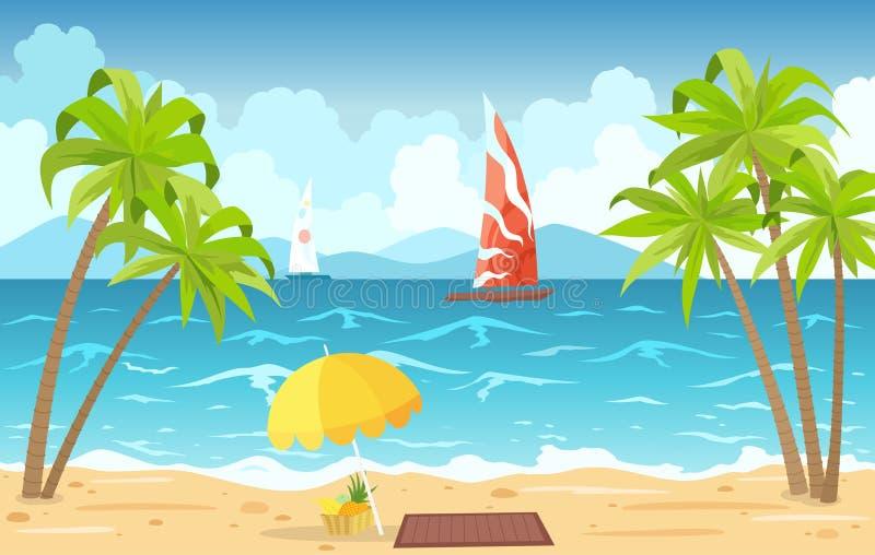 Morza słońca i plaży loungers Seascape, urlopowy sztandar z żeglowanie statkami, palmy, plażowy parasol i chmury, kreskówka royalty ilustracja