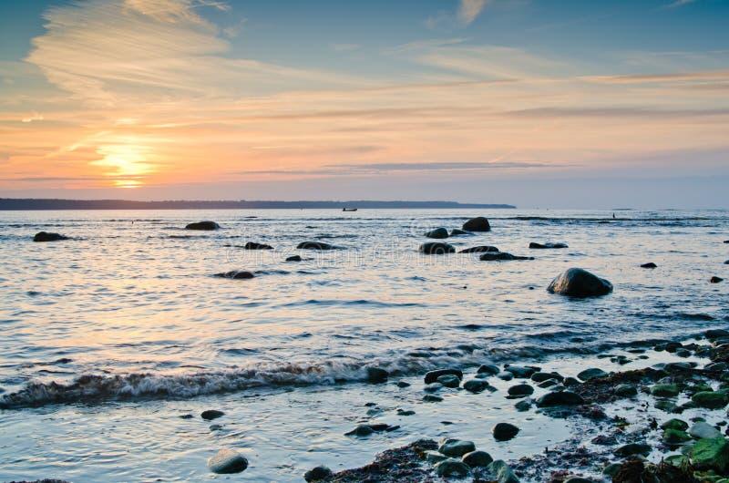 Morze Bałtyckie przy zmierzchem fotografia royalty free