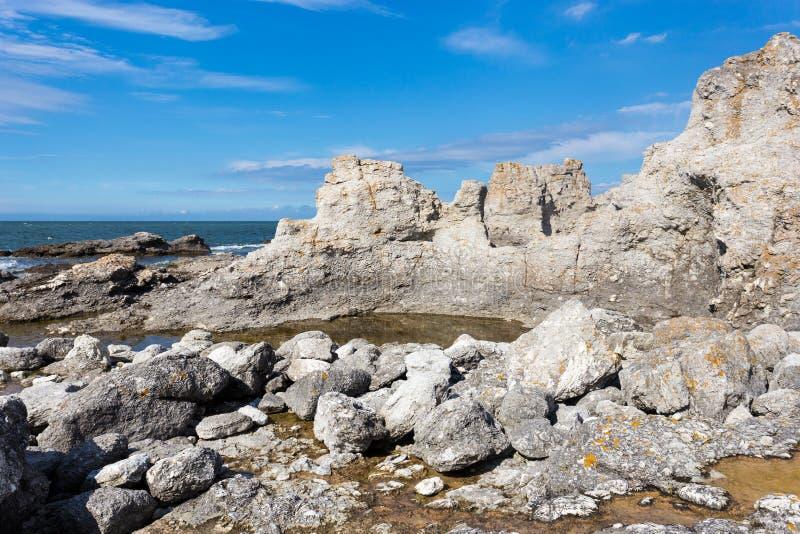 Morze Bałtyckie, Raukar, Faro, Gotland, Szwecja obrazy stock