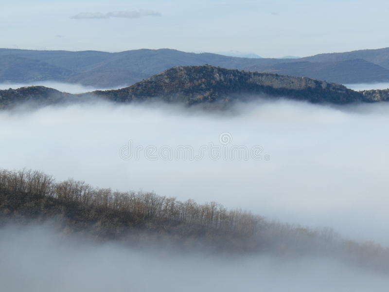 Morze chmury, gór wyspy zdjęcie stock