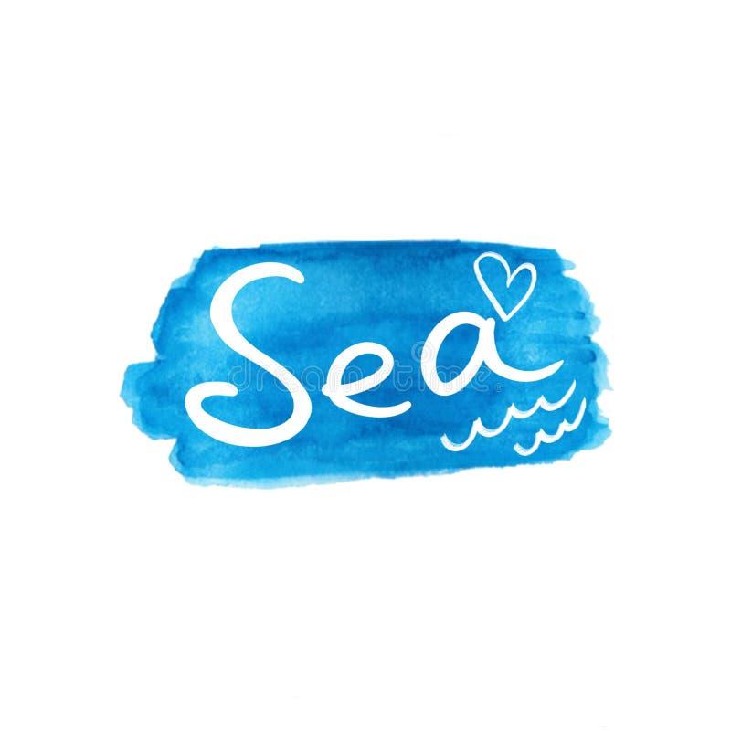 Morze Dekoracyjna inskrypcja w bielu z sercem i fale na błękitnym akwareli tle ilustracji