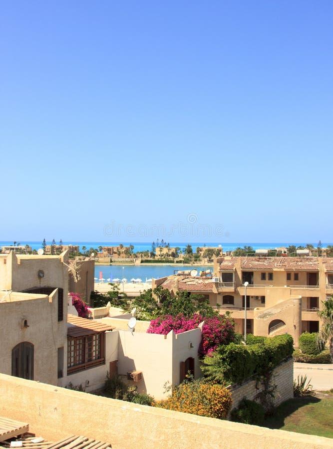 Morze domy i plaża zdjęcie royalty free