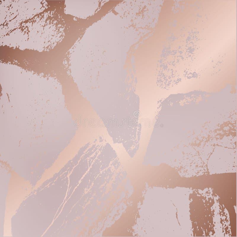 Morze, duzi kamienie w różanym złocie faliste linie modna tekstura w genialnym złocie nowożytny tło dla projekta, zaproszenia, ilustracja wektor