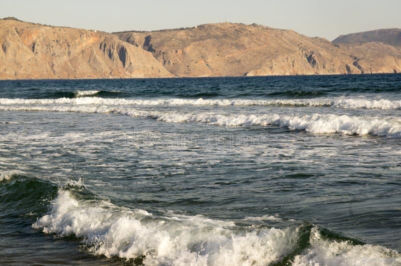 Morze fala, plaża, Kavros, Crete, Grecja, Europa zdjęcia stock