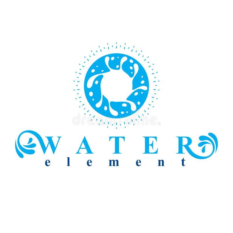 Morze fala pluśnięcia wektorowy symbol odizolowywający na bielu Uzdatnianie wody ilustracja wektor