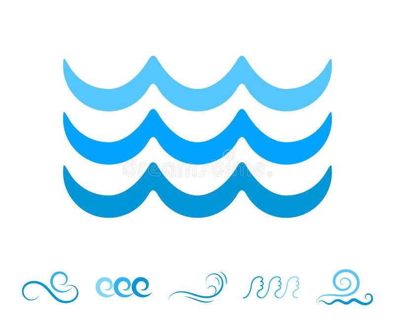 Morze Falowe Błękitne ikony lub Wodni Ciekli symbole Odizolowywający ilustracji