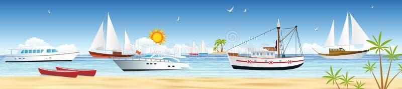 Morze i łodzie ilustracji