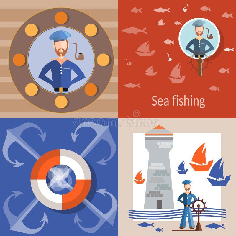 Morze i żeglarza dennego rejsu podróży lifebuoy denny statek ilustracja wektor