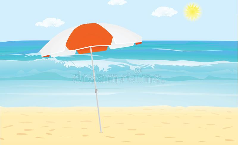 Morze i plaża z słońce parasolem ilustracji
