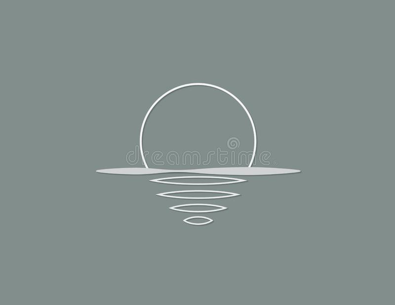 Morze i słońce z odbiciem na powierzchni oceanu koloru biały logo dla organizacja gospodarcza wektoru ilustracji ilustracja wektor