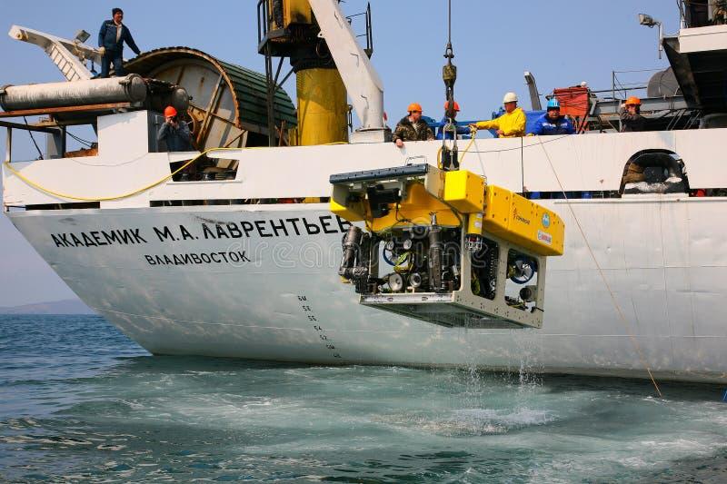 Morze Japonia, Rosja, Kwiecień/- 2010: Daleko działający podwodny zdjęcia stock