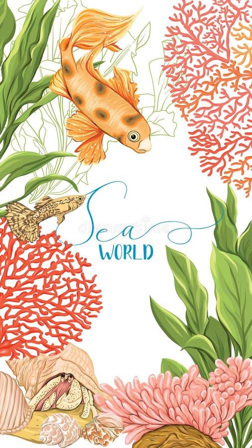 Morze karta z ryba, koralami i skorupami złota, ilustracja wektor