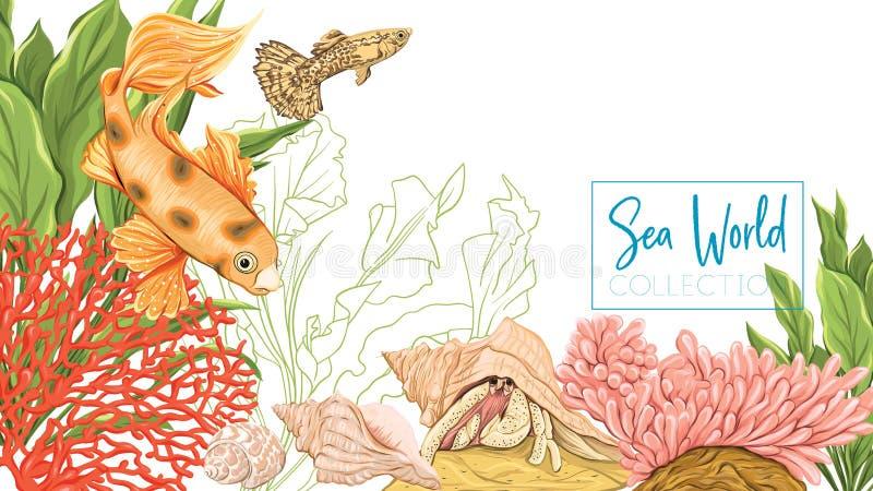 Morze karta z ryba, koralami i skorupami złota, ilustracji