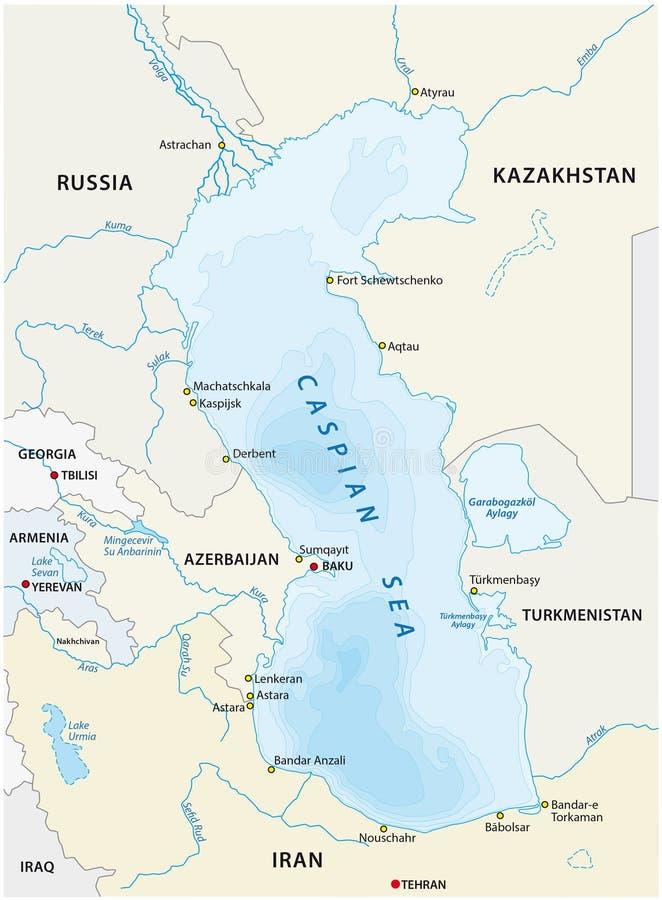 Morze Kaspijskie mapa ilustracji
