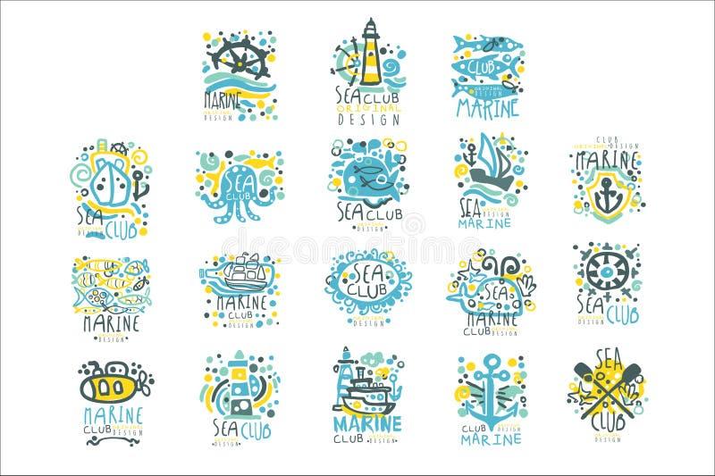 Morze klubu set dla etykietka projekta Jachtu klub, żeglujący sporty lub morska ręka rysować podróży kolorowe wektorowe ilustracj ilustracja wektor