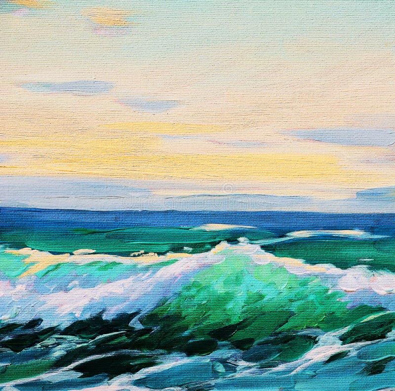 Morze krajobraz, obraz, ilustracja ilustracja wektor