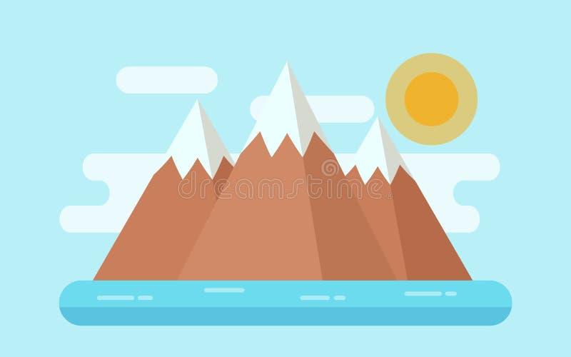 Morze krajobraz z śnieżnymi górami, wyspa Wektorowy płaski illustrat royalty ilustracja
