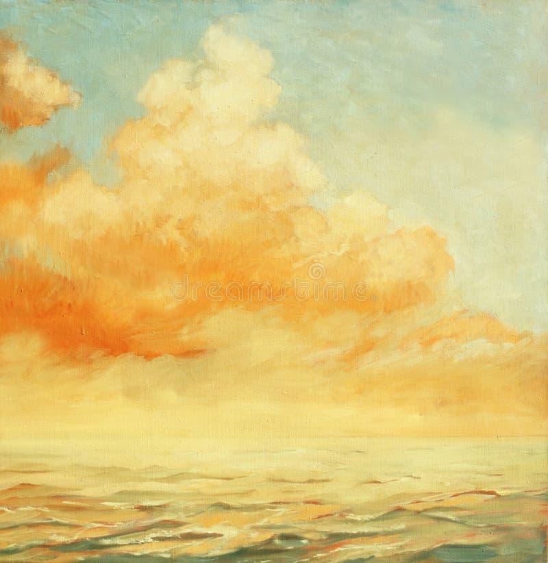 Morze krajobraz z chmurą, ilustracja, maluje olejem na a zdjęcie stock