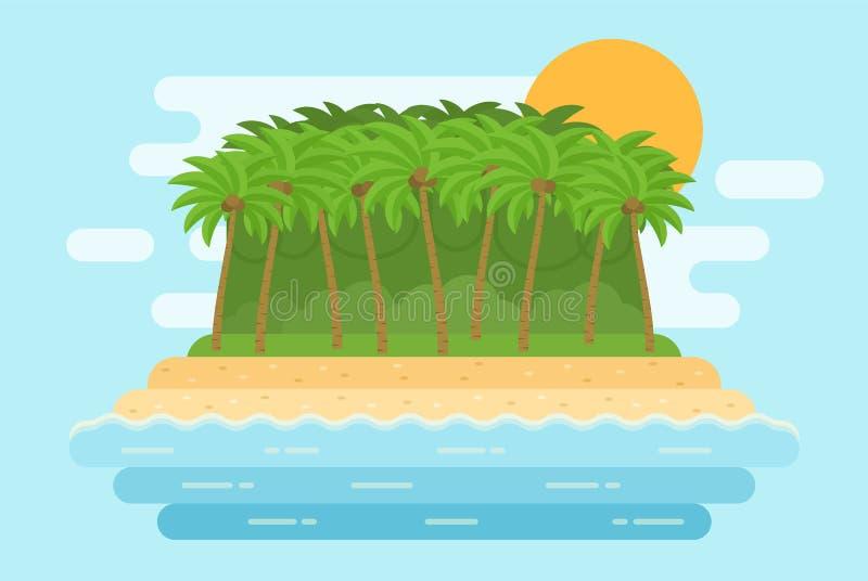 Morze krajobraz z piasek plażą, palmy, wyspa Wektorowy Illustratio royalty ilustracja