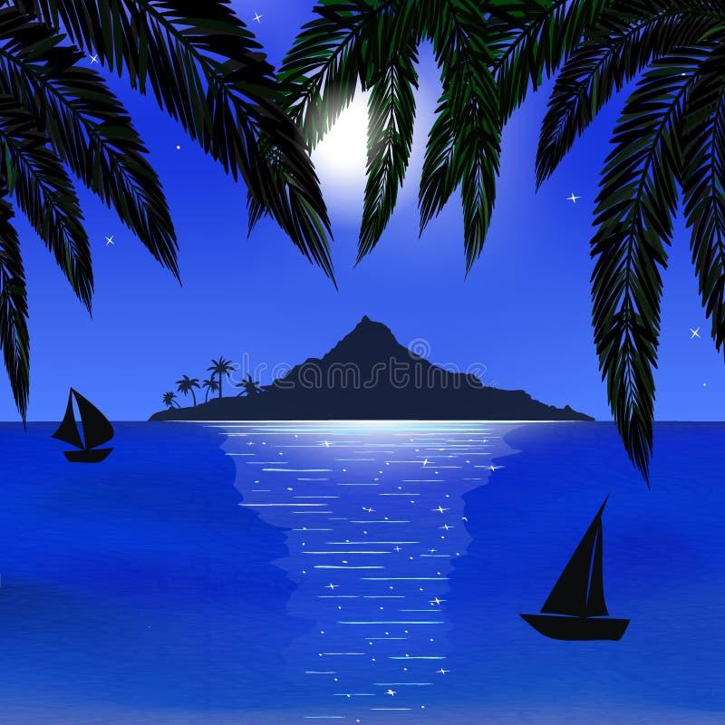 Morze, księżyc, wyspa ilustracja wektor