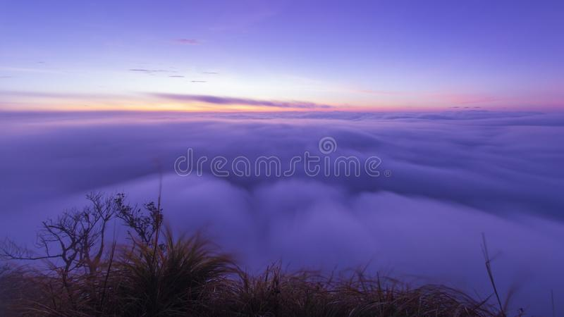 Morze mgła na Poo Chee Fah, Chaingrai, Tajlandia zdjęcie royalty free