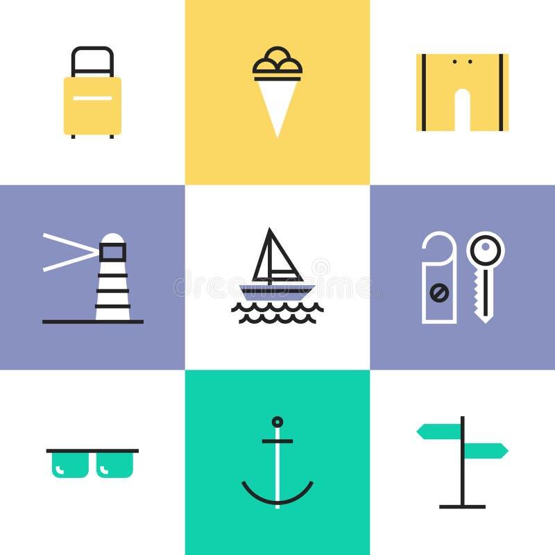 Morze piktograma urlopowe ikony ustawiać royalty ilustracja