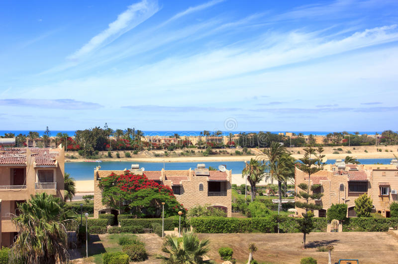 Morze plaża i domy, Maria, Egipt obrazy royalty free