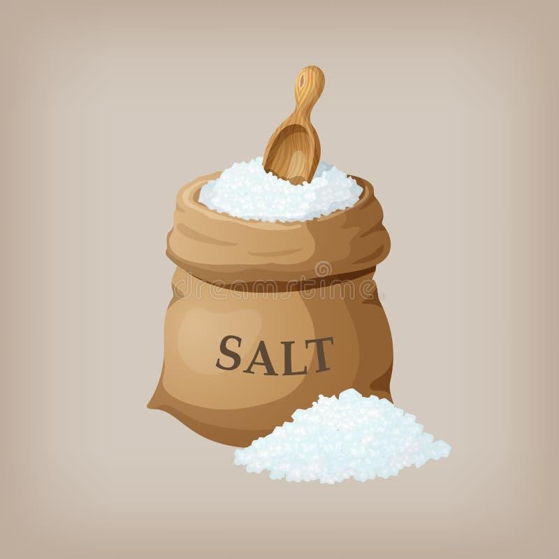 Morze sól w jutowym worku ilustracja wektor