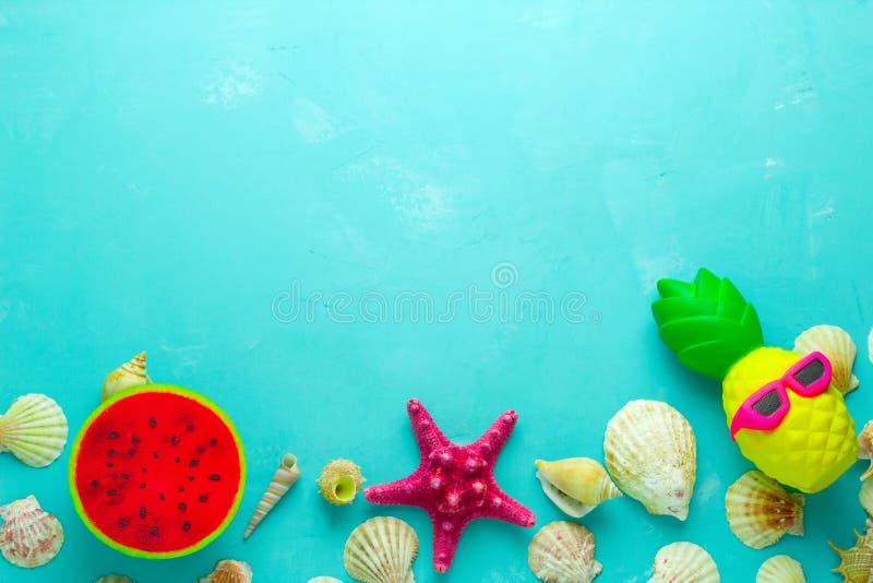 Morze skorupy i jaskrawa squishy zabawki rama, odgórnego widoku kopii przestrzeń obraz stock