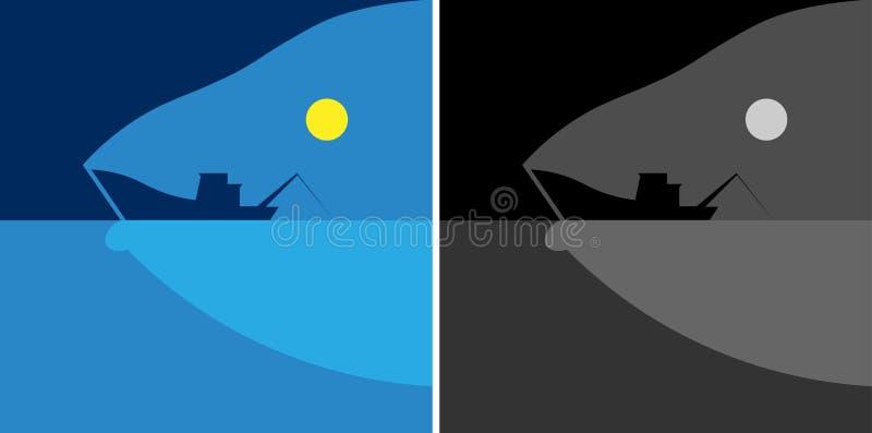 Morze sylwetka łódź rybacka i ryba, księżyc świeżej ryba minimalisty logo ilustracja wektor