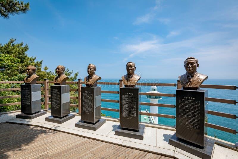 Morze Taejongdae park w Busan i rzeźba zdjęcie stock