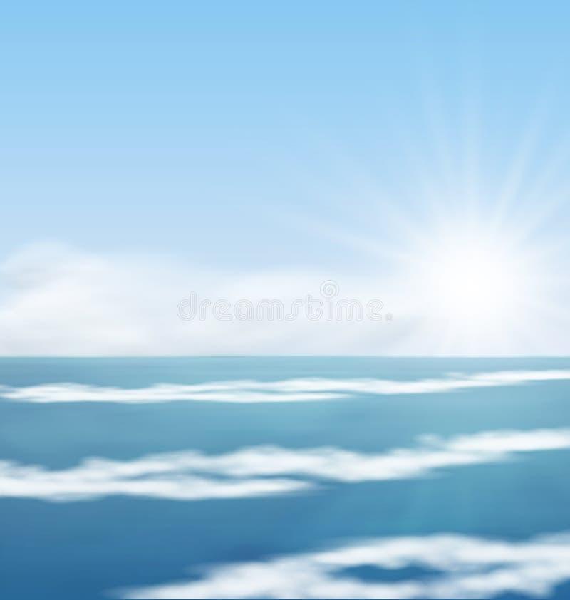 Morze wschodu słońca kipieli Krajobrazowy ocean ilustracji