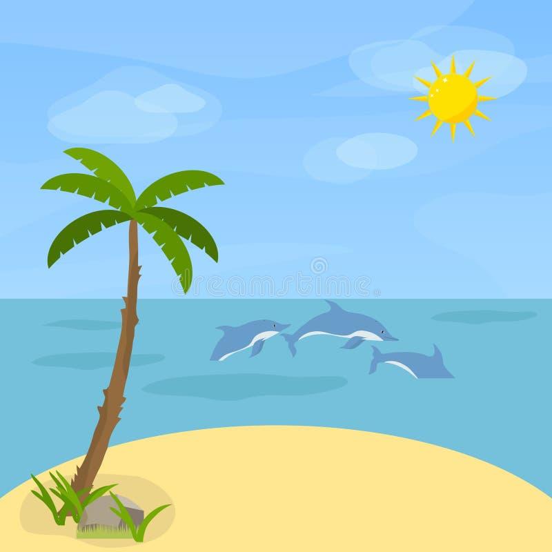 Morze z delfinami Delfiny pływają w morzu przeciw niebu royalty ilustracja