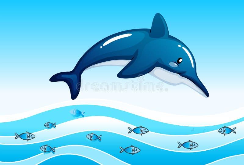 Morze z dużym delfinem i szkołą małe ryba royalty ilustracja