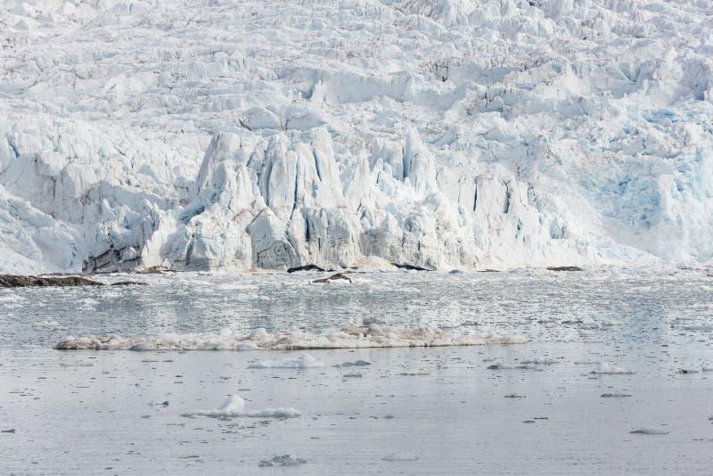 Morze zatoka z lodowem i górami lodowa w Svalbard, Spitsbergen, Nie zdjęcie royalty free