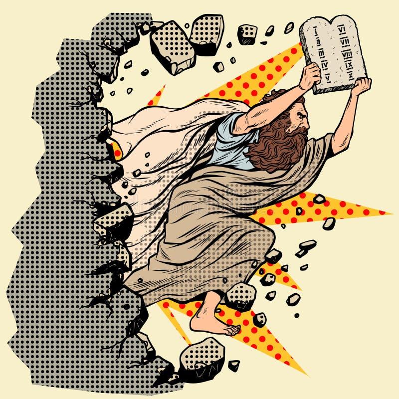 Mosè con le compresse dei ordini della convenzione 10 rompe una parete, distrugge gli stereotipi illustrazione di stock