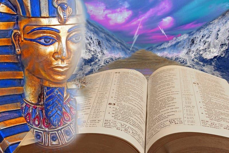 Mosè e bambini di miracolo dell'incrocio di Mar Rosso del pharoah della bibbia egitto dei israelites del dio fotografia stock