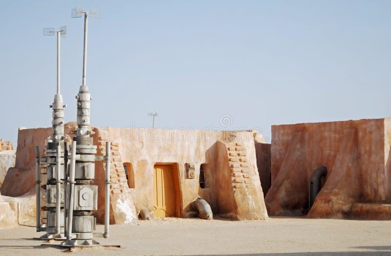 Mos Espa Star Wars-film in Sahara Desert wordt geplaatst die royalty-vrije stock foto