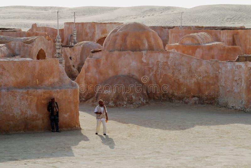 Mos Espa Star Wars-film in Sahara Desert wordt geplaatst die stock foto