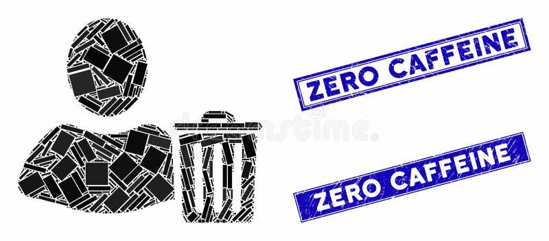 Mosaïque à ordures usagées et rectangle rayé Zéro Sceau à tampon de caféine illustration de vecteur