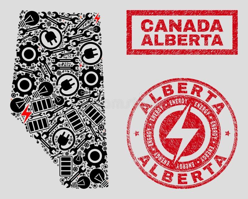 Mosaïque électrique Alberta Province Map et neige et timbres de détresse illustration de vecteur