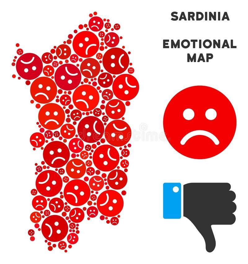 Mosaïque émotive de carte d'île de la Sardaigne d'Italien de vecteur des smiley tristes illustration libre de droits