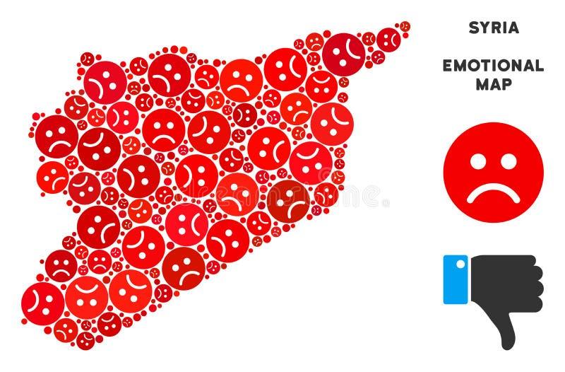 Mosaïque émotive de carte de la Syrie de vecteur d'Emojis triste illustration de vecteur