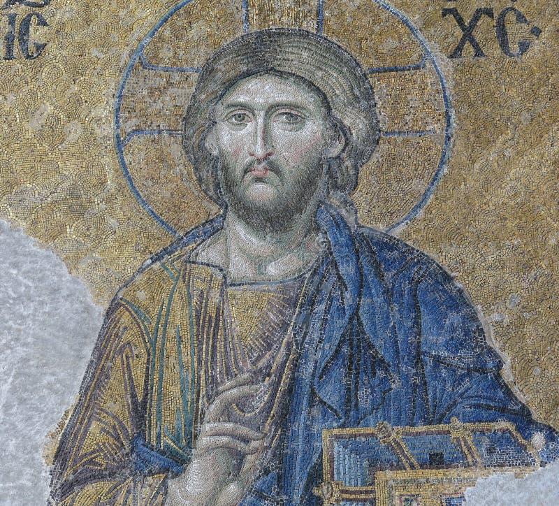 Mosaïque avec la représentation du Christ Pantocrator Hagia Soph photographie stock