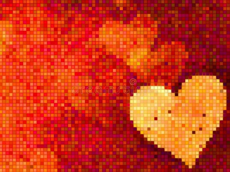 Mosaïque avec le coeur d'or sur le fond rouge illustration de vecteur